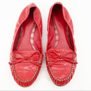 Coach Junie Coral Patent Slip On Flats Loafers 9B